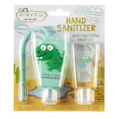 Jack n 'Jill Antibakteriálny gél na ruky pre deti - dino 2 x 29 ml + púzdro